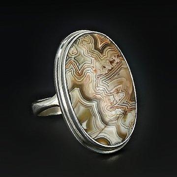 Серебряное кольцо авторская работа (агат крейзи)
