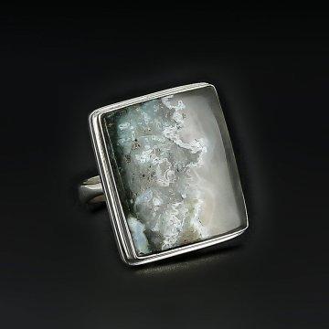 Серебряное кольцо авторская работа (пейзажный агат)