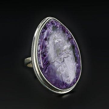 Серебряное кольцо авторская работа (чароит)