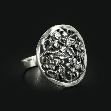 Cеребряное кольцо Флора