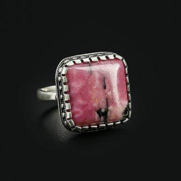 Серебряное кольцо (родонит)