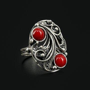 Серебряное кольцо (коралл)