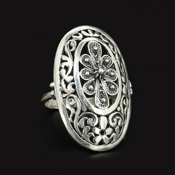 Cеребряное кольцо Цветочные мотивы