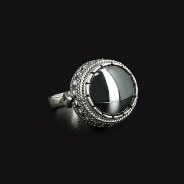 Серебряное кольцо (гематит)