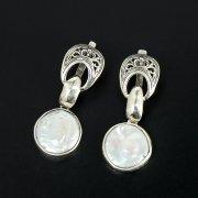 Серебряные серьги с филигранью (камень - барочный жемчуг)