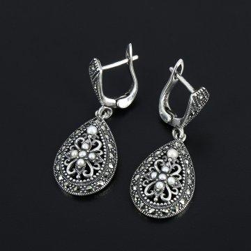 Серебряные серьги (марказит, жемчуг)
