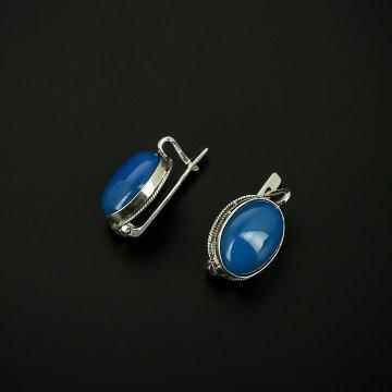 Серебряные серьги с филигранью (агат голубой)