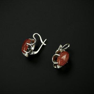 Серебряные серьги с филигранью (авантюрин)