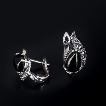 Серебряные серьги (марказит, оникс)