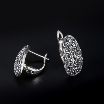 Серебряные серьги (марказит)