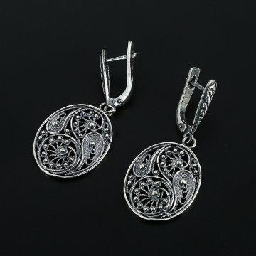 Серебряные серьги с филигранью