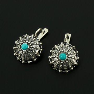 Серебряные серьги с филигранью (камень - бирюза)