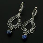 Серебряные серьги с филигранью (камень - лазурит)