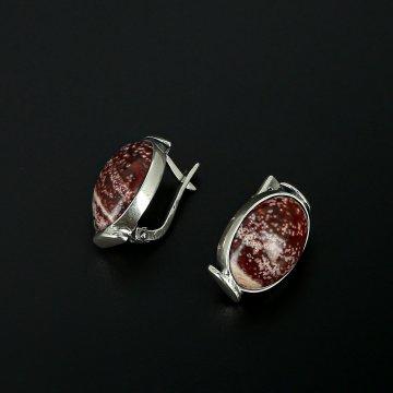Серебряные серьги (яшма)
