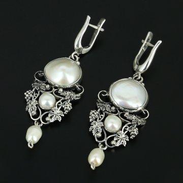 Серебряные серьги с филигранью (барочный жемчуг)