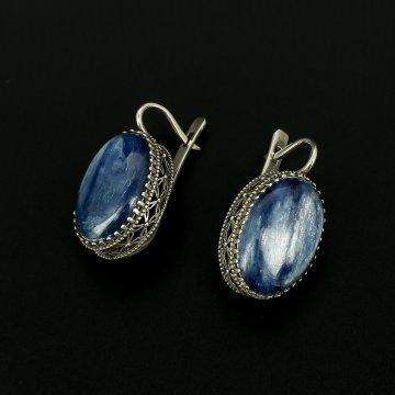 Серебряные серьги (кианит)