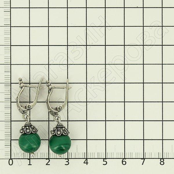 Серебряные серьги (малахит)