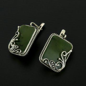 Серебряные серьги (нефрит)
