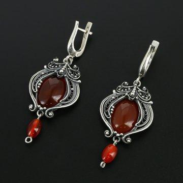 Серебряные серьги (сердолик)