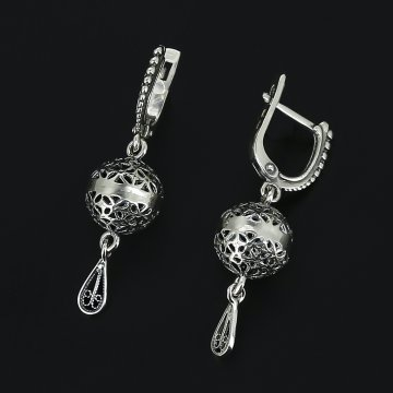 Серебряные серьги филигрань