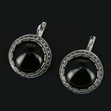 Серебряные серьги (агат)