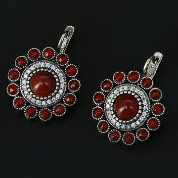 Серебряные серьги (сердолик,циркон)