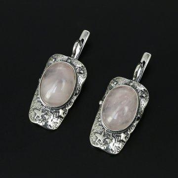 Серебряные серьги (розовый кварц)