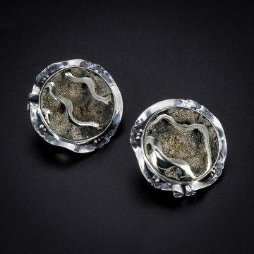 Серебряные серьги авторская работа (аммонит)