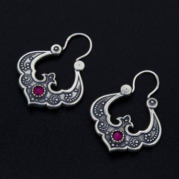 Серебряные серьги Традиция (рубин)