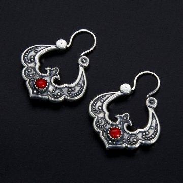 Серебряные серьги Традиция (коралл)