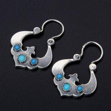 Серебряные серьги Традиция (бирюза)