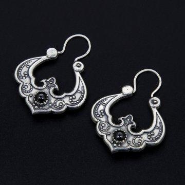 Серебряные серьги Традиция (агат)