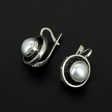 Серебряные серьги авторская работа (жемчуг)