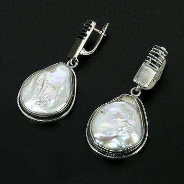 Серебряные серьги авторская работа (барочный жемчуг)