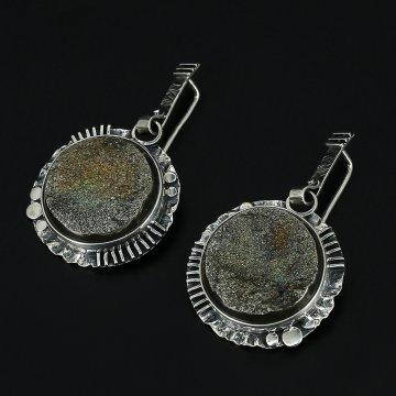Серебряные серьги Вселенная авторская работа (жеода пиритизированная)