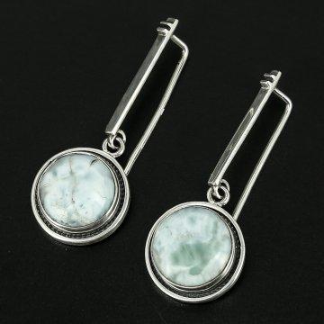 Серебряные серьги Облака авторская работа (ларимар)