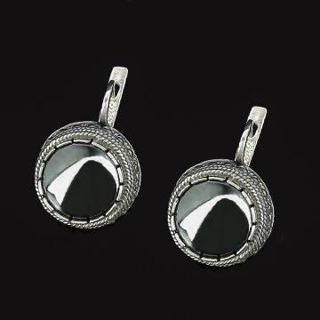 Серебряные серьги (гематит)