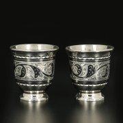 Серебряные стопки Кубачи ручной работы (2 персоны) арт.11628