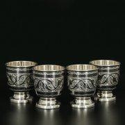 Серебряные стопки Кубачи ручной работы (4 персоны) арт.11658