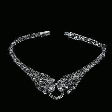Серебряный браслет с филигранью (марказит, гранат)