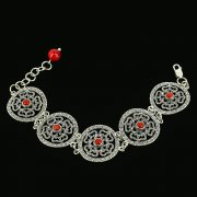 Серебряный браслет с филигранью (камень - коралл) арт.11963