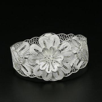 Серебряный браслет ажурный Флора