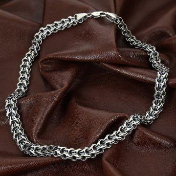 Серебряная цепь Двойной Бисмарк 60 см (ширина 1,2 см)