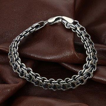 Серебряный браслет Двойной Бисмарк 25 см (ширина 1.3 см)