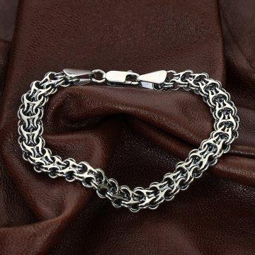 Серебряный браслет Двойной Бисмарк 24 см (ширина 1.3 см)