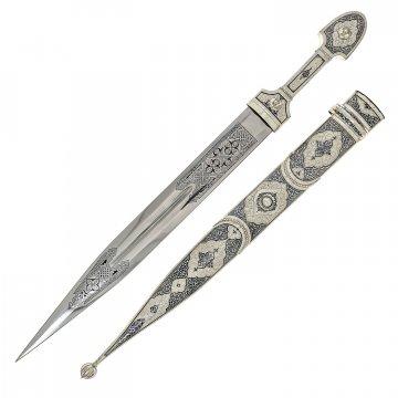 Серебряный кинжал в футляре (сталь - 65Х13)