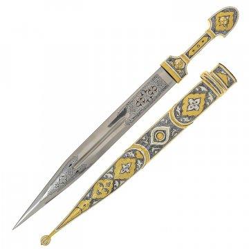 Серебряный кинжал с позолотой в футляре (сталь - 65Х13)