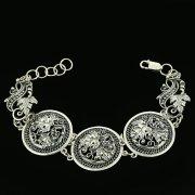 Серебряный кубачинский браслет с филигранью ручной работы арт.11877