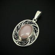 Серебряный кулон с филигранью (камень кварц)
