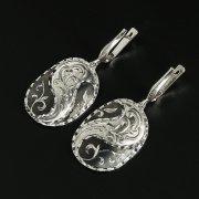 Кубачинские серебряные серьги ручной работы с чернением арт.10113